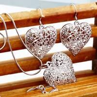 925 hot beautiful Fashion charms women silver heart Earring Necklace set jewelry