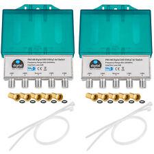 2x DiSEqC 4/1 Schalter 4 x 1 SAT Switch Verteiler Umschalter F-Stecker HD 4 in 1