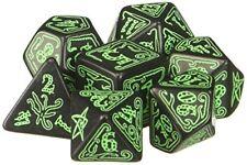 Q-workshop Polyhedral 7-dice Set Call of Cthulhu Black Green