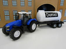 PERSONALISED ANY NAME BLUE TOY TRACTOR TRAILER GIRL BOY BIRTHDAY GIFT BOXED NEW