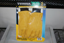 Terra Deerskin 3M Thinsulate Leather Lined Work Gloves Men's NEW Lot of 2  XL