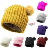 Women Winter Warm Thick Knitted Lined Hat Cap Double Fur Pom Pom Beanie Hat NEW