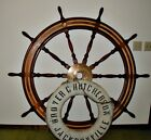 """A REAL 66"""" DIAM. SHIPS WHEEL FROM A WWII SHIP"""