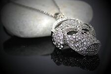 Skull Headphone Crystal Pendant Chain Necklace Men's Women Gift Gothic
