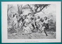 ROMAN Girls Men Old Young Drunk Bacchanalia Dance - VICTORIAN Era Print
