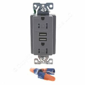 Cooper Gray Tamper Resistant 15A Receptacle Outlet w/ 2.1A USB Charger TR7745GY