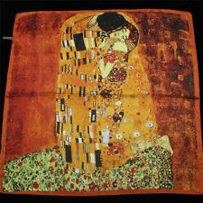 Silky satin scarf, 55cmx55cm. Klimt's 'The Kiss'  Free gift wrapping available