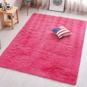 Super Soft Hot Pink Shag Non-Slip Bedroom Living Dining Area Rug Shaggy Carpets