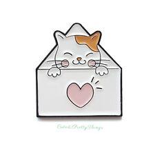 Cat Enamel Pin Brooch (Cat in Heart Envelope) Cute Kawaii Kitty Pin Badge Gift ❤