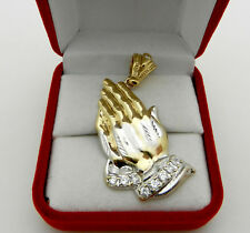 Real 10K Multi-Tone Gold Praying Hands Lord Prayer Pendant Charm 5.7 grams