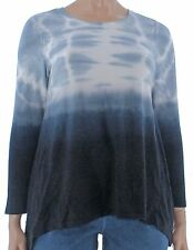 New Style&co. Women Deep Black Retro Refresh Tie-Dyed Ombre Top Size 3X