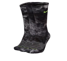 Nike Socks Mens Large Gray Volt Tie Dye Dri Fit Max Cushioned Three Pairs Crew