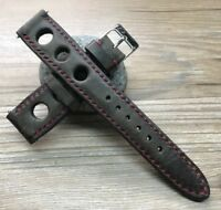 20mm racing strap rally watch band, Brown Leather watch strap band Free Shipping