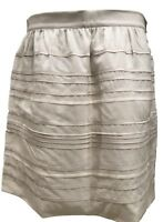 NEW, BRUNELLO CUCINELLI IVORY LEATHER DETAIL SKIRT, 8 US 44 IT, $2050