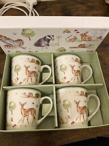 """Leonardo Collection """"Woodland Wildlife"""" Set Of 4 Fine China Mugs 250ml Boxed"""