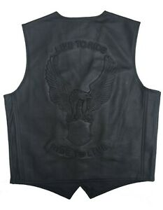 Mens Motorbike Motorcycle Eagle Embossed Bikers Classic Leather Waistcoat Vest