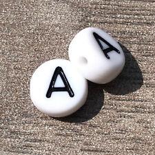 MiPerla * Buchstabenperlen Acryl * 7 mm * weiß * 10 Stück * Auswahl A-Z * 52539