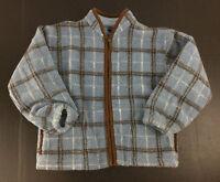Kitestrings Boys Coat Plaid Size 8/10 Fleece Blue Brown Full Front Zip Pockets