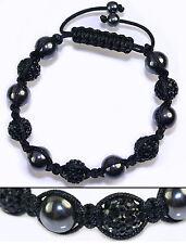 A82 Shamballa Bracciale Ematite Strass Sfera Shambhala hip hop rap MACRAME bracelet