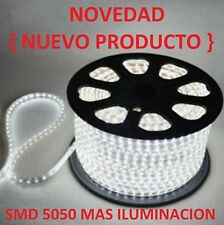 BOMBILLA TIRA DE LED LUZ FRIA BLANCA 220V SMD5050 IMPERMEABLE IP65 8MM 230V 240V