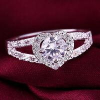 Women 925 Sterling Silver Love Heart Shaped Ring Bridal Wedding Jewelry Size 6-9