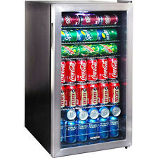 126 Can Stainless Steel Beverage Center, Glass Door Wine Beer, Soda Drink Fridge