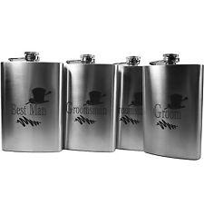 8oz Best Man, Groom, and 2 Groomsman Hip Flasks Wedding gift (QTY 4 flasks) L1