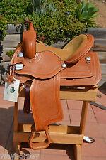 "Alamo Saddlery Barrel Saddle - Light Oil with Basket Tooling - 14"" Seat"
