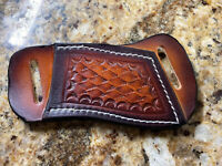Cross-Draw Leather Sheath Trapper Small Knife Snake skin Patten..NO KNIFE