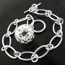 T'Bar Antique Bead Ball Charm Design Bracelet Bangle Real 925 Sterling Silver Sf