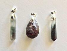 3 x Natural Scenic Quartz Crystal Pendants