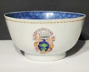 18th c Antique Chinese Export Famille Rose Armorial Porcelain Bowl w Ship