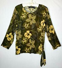 Impressions lifestyle Blouse Sz L Women Olive Green Floral Stretch Casual Tops
