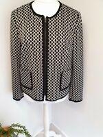 Tu Jersey Blazer Jacket Size Uk 18 Monochrome Zip Pockets Lined