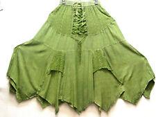 Skirt BoHo Old West Hancerchief hem Renaissance ren faire green skirt one size