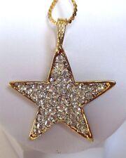 pendentif chaîne collier bijou rétro étoile couleur or cristaux diamant *3465