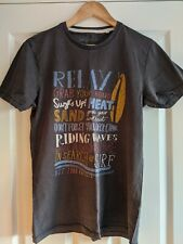 Mens Small Fat Face T Shirt Washed Navy Surfboard Text