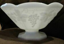 Anchor Hocking Milk Glass Grapes Leaves Design Pedestal Fruit Serving Bowl Dish