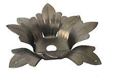 "8 PETAL 3-3/4"" STAMPED STEEL FLOWER HUSK BOBECHE CANDLE CUPS W/4 PRISMS HOLES."