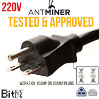 220v Power Cord - HEAVY DUTY - Crypto Miner PSU CORD for 15A or 20A Plug T17