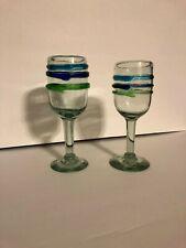 2 Wine Water Goblets all purpose Glasses Art Mexico Teal Aqua green Blue Swirl
