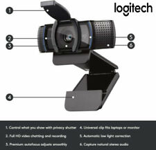 Logitech C920 HD Pro Webcam Privacy Shutter C920S Bundle1080p Black