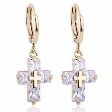 New 1Pair 18k Gold Plated Hoop Dangle Earrings White Cross Zircon 3.0x1.1cm