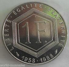1 franc Charle de Gaulle 1988 : SUP : pièce de monnaie française