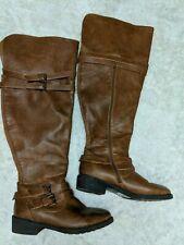 OTK Cognac Boots Women 10.5 Multistrap Wide Calf