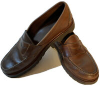 LL BEAN Allagash Handsewn Leather Penny Loafers Moc Toe Mens Size 9.5 D