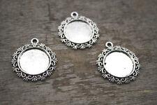10pcs silver Tone round Cabochon settings charm pendants fit 20mm glass dome