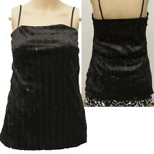 BLACK VELOUR SEQUINED STRAPPY VEST TOP  SIZE 6 8 10 12