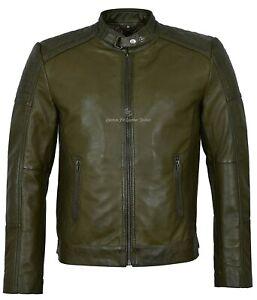 Men's Leather Jacket Olive Green Biker Style Soft Padded Real Lambskin 1829-B