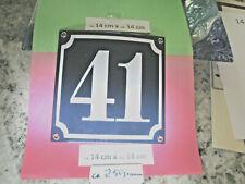 Hausnummer Emaille Nr. 41 weisse Zahl auf blauem Hintergrund 14cm x 14cm